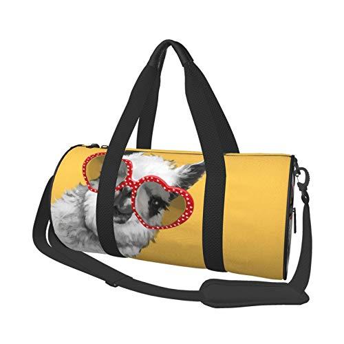 Bolsa de deporte multifunción para gimnasio, unisex, bolsa de lona de gran capacidad, ideal para viajes, estilo hipster con gafas