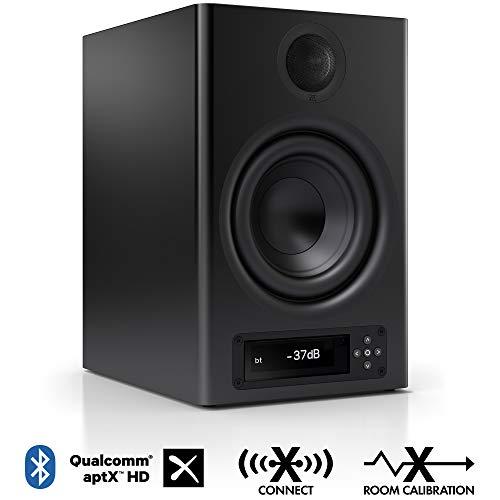Nubert nuPro X-4000 RC Regallautsprecher | Bluetooth Lautsprecher aptX HD | Lautsprecher Verbindung kabellos High Res | Aktivbox mit 2 Wege Technik | High End Kompaktlautsprecher Schwarz | 1 Stück
