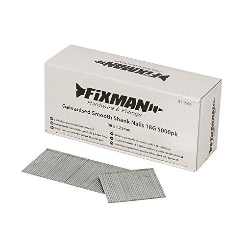 Fixman 974546 Clavos Lisos Galvanizados Calibre 18, Set de 5000 Piezas