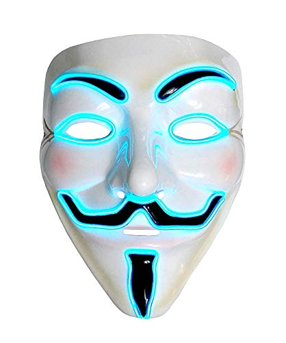 Maschera V per Vendetta Anonymous - per Costume - Travestimento - Carnevale - Halloween - LED Luminoso - Blu - Adulti - Unisex - Donna - Uomo - Ragazzi - Idea Regalo per Natale e Compleanno