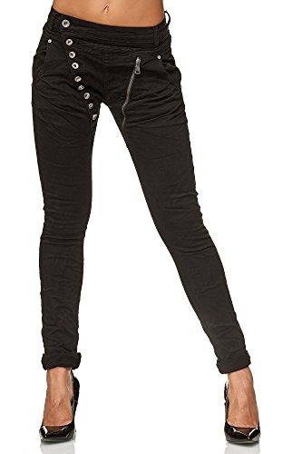 Elara Damen Jeans Boyfriend Baggy Knopfleiste Chunkyrayan C613K-15/F15 Black 46/3XL