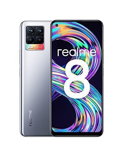 "realme 8 Smartphone, Quad camera da 64 MP con AI, Display Super AMOLED da 6.4"", Ricarica rapida da 30W, Grande batteria da 5.000mAh, Dual Sim, NFC, 6+128GB, Cyber Silver"