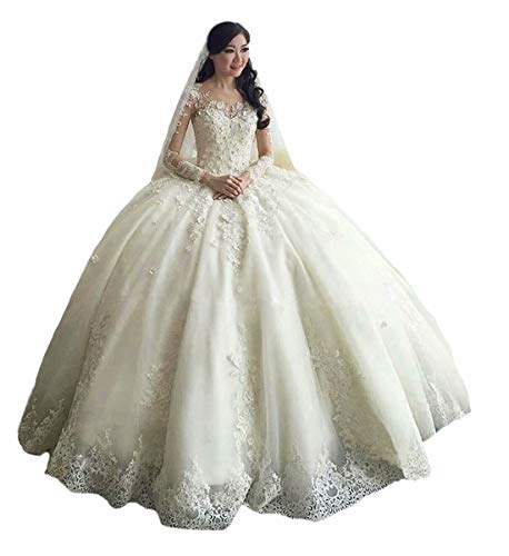 TBGirl Women's Long Sleeve Lace Ball Gown Wedding Dresses Cathedral Train