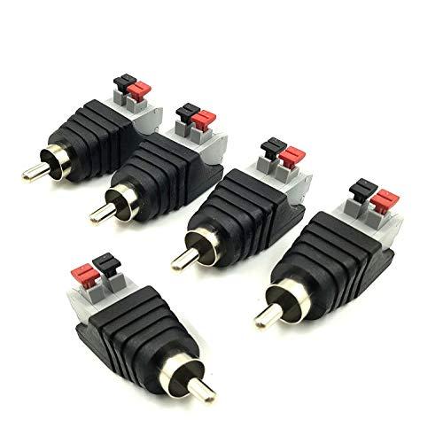 Vimmor, adattatore audio e video, RCA maschio, doppio terminale per audio e video, tipo balun, per multimedia e CCTV 5 Pack