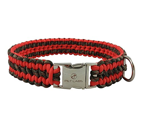 Pet Labs Paracord Dog Collar Orange-Red and Army Green Camo