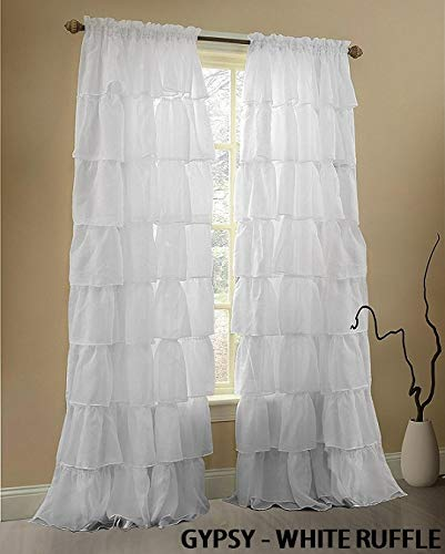"Sapphire Home Set of 2 Gypsy Ruffle Window Curtain Panels Short 63"" Length, Semi-Sheer Voile Rod Pocket Horizontal Crushed Ruffled Curtains, Gypsy 63"" White"
