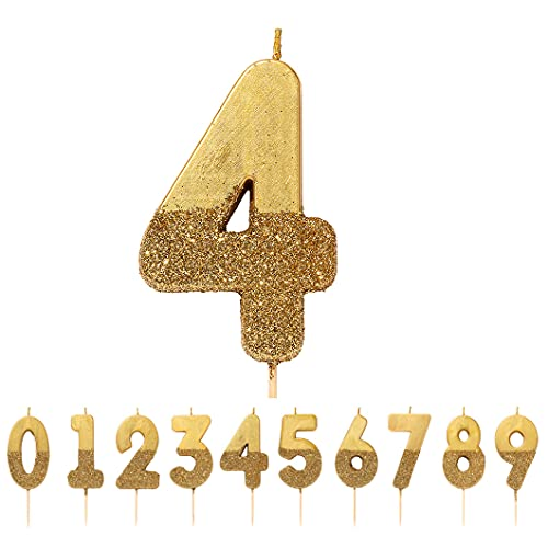 We Heart Birthdays Glitter Number Candle 4, Gold