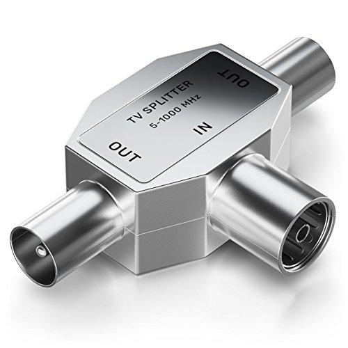 deleyCON Antennen-Verteiler T-Kupplung Zweigeräte-Verteiler für TV/T-Adapter Koax-Kupplung 2X Koax-Stecker Kabelfernsehtauglich Silber