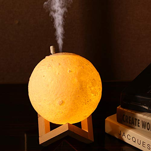 Moon Light Night Light (with Humidifier Function)for Kids Gift for Women USB Charging and Touch Control Brightness 3D Printed Warm and Cool White Lunar Lamp 【Moon lamp with Stand】
