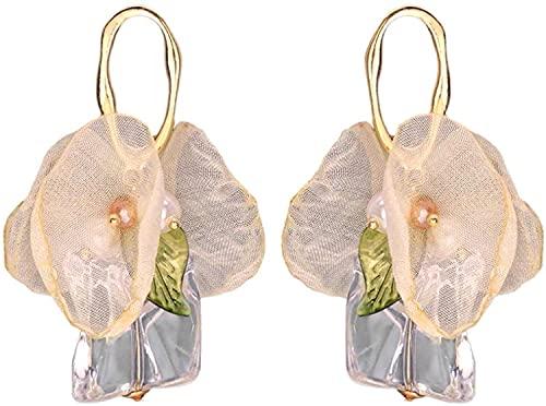 SVET 合金 不規則な 花びらロングピアス女性の潮 リルイヤリングフリ アクリル 金属製 薄黄色