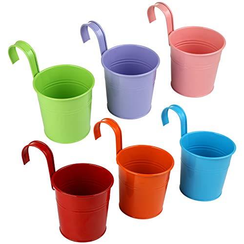 LIHAO 6 Pezzi Vasi per Piante in Metallo, Vaso da Fiori da Appendere con Gancio Rimovibile Decorazioni Giardino