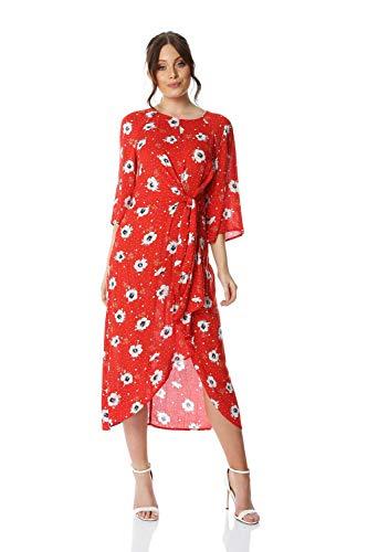 Roman Originals Damska czerwona kwiatowa węzeł talia sukienka maxi - damska odzież na co dzień wieczorowa okazja ślub gość jadalnia data lato wakacje rękaw 3/4 asymetryczny rękaw midi