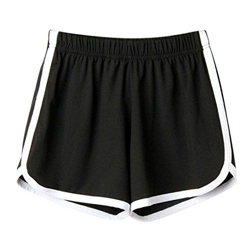 SHOBDW Las Mujeres de Moda señora de la Cintura elástica Verano sólido hasta la Rodilla cómodos Pantalones Cortos Deportivos Pantalones Casuales de Playa (S, Negro)