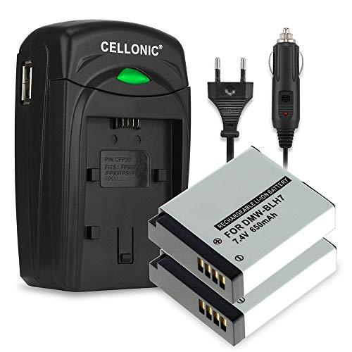 CELLONIC 2X Batería Compatible con Panasonic Lumix DMC-GF7 DMC-GX7 DMC-GM1 DMC-GM5 DMC-LX15 DC-GX800, DMW-BLH7 650mAh + Cargador de Coche bateria Repuesto Pila Cable de Carga alimentador