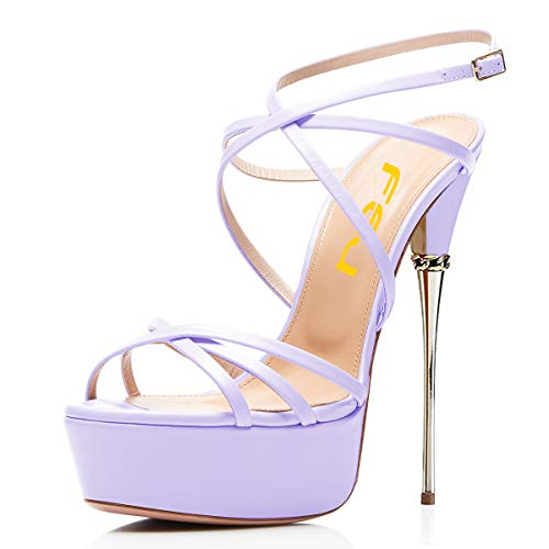 FSJ Women Sexy Strappy Open Toe Platform Sandals Ankle Strap High Stiletto Heels Metallic Dress Shoes Size 10 Lavender