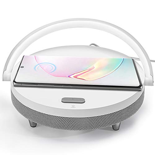 JACKYLED Bluetooth Speaker with Wireless Charger and LED Night Light Fast Charging Stand for Home Office Nightstand Compatible with iOS and Android Devices iPhone AirPods2 Galaxy White
