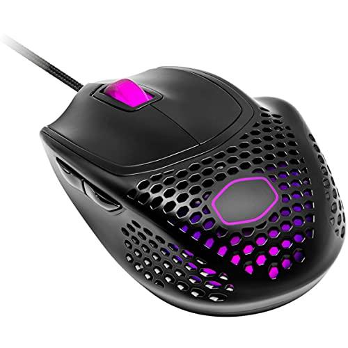 Cooler Master MM720 RGB-LED Claw Grip Gaming Mouse avec câble - Coque en nid d'abeille ultra-légère de 49 g, capteur optique 16000 DPI, 70 millions de micro-interrupteurs à clic - Noir mat
