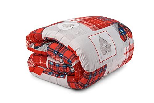 HomeLife Winter-Steppdecke für Einzelbett, hergestellt in Italien, 170 x 260 cm, 250 g/m², für Herbst/Winter, wendbar, warme Steppdecke für Einzelbett, antiallergisch, Mikrofaser, Shabby Chic