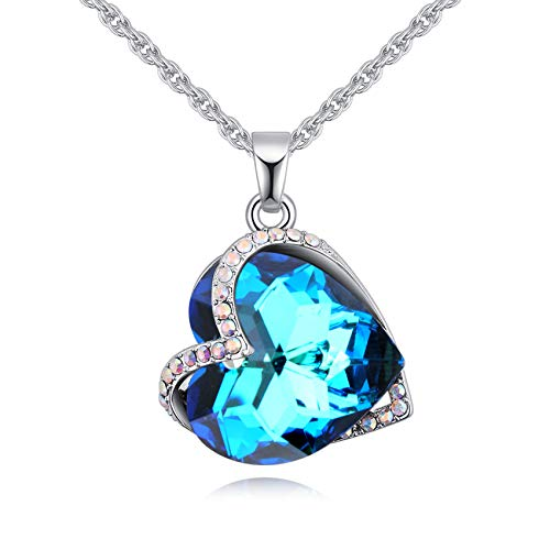 """LWQIONG Heart Necklace for Women Love Crystal Pendant Jewelry Birthstone Necklace for Girlfriend,Mon,Her Valentines Gift Silver-Tone, 18"""" Chain"""