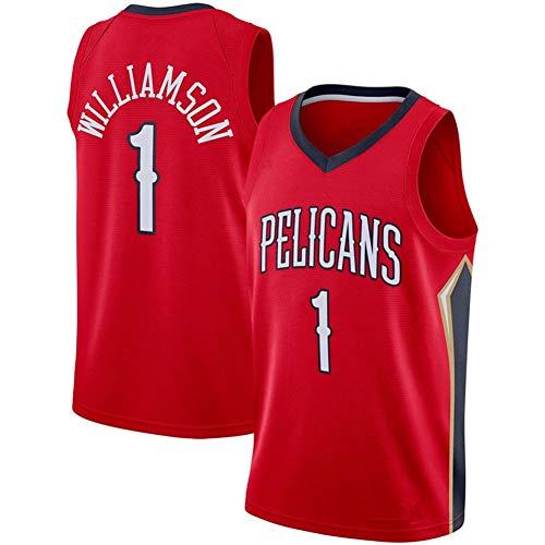 LJLis New Orleans Pelicans #1 Zion Williamson Maglia Sportiva Smanicata Traspirante ad Asciugatura Rapida Traspirante, Prima Manica Rotonda Pick NBA Draft,Rosso,M