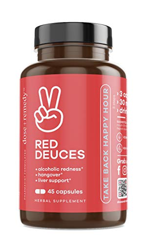 Red Deuces Hangover Cure & Prevention Pills Alcoholic Flush, Dihydromyricetin (DHM), Prickly Pear, N-Acetyl-Cysteine (NAC), Milk Thistle for Morning After Alcohol Recovery, Asian Glow