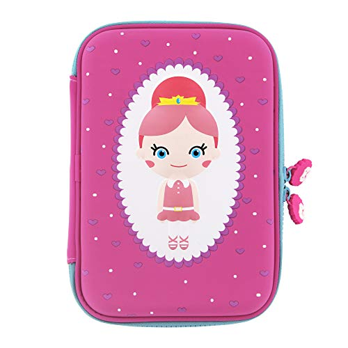 Rockpapa - Astuccio per matite da principessa, grande capacità, per scuola, studenti, ragazze, ragazzi, bambini, colore: Rosa