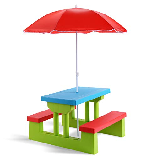 Costzon Kids Picnic Table, Indoor & Outdoor Wood Table and Bench with Removable Umbrella, Portable Picnic Table Bench Set for Toddlers, Great for Garden, Backyard, Patio (Red & Green)