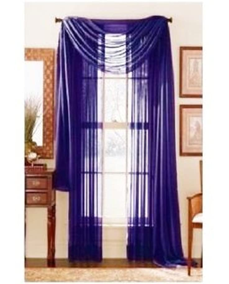 GorgeousHomeLinen 3PC Royal Blue 2 Sheers 84