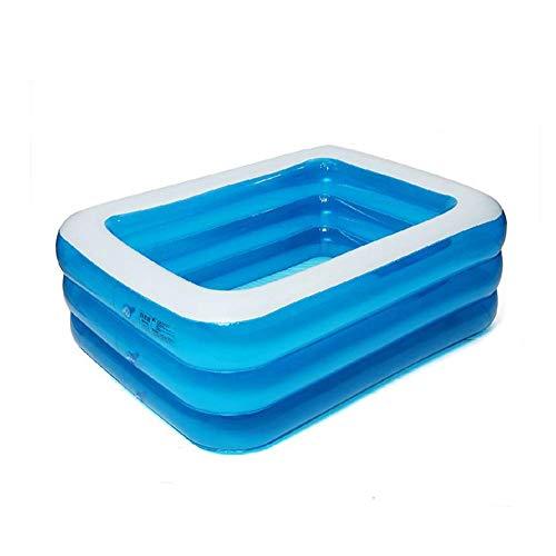 YANGHAO-Bañera grande- Piscina inflable de 3 anillos transparentes, piscinas de remo Piscina de agua para jardín exterior, Familia extra grande Piscina para niños adultos azul 305x180x68cm / cqyych-15