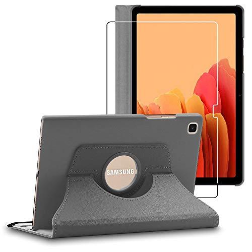 ebestStar - Funda Compatible con Samsung Galaxy Tab A7 10.4 T505 (2020) Carcasa Cuero PU, Giratoria 360 Grados, Función Soporte, Gris + Cristal Templado [Tab S7: 247.6 x 157.4 x 7 mm, 10.4'']