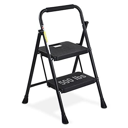 HBTower 2 Step Ladder, Folding Step Stool with Wide Anti-Slip Pedal, Sturdy Steel Ladder, Convenient Handgrip, Lightweight 500lbs Portable Steel Step Stool, Black