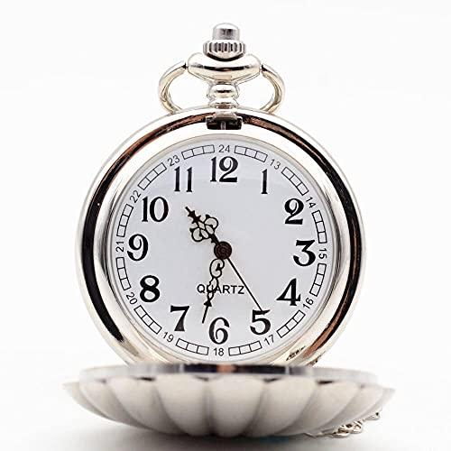 KX-YF Reloj De Bolsillo Reloj De Bolsillo De Cuarzo De Plata De Shell Forma Adecuado para Regalos Y Recuerdos.