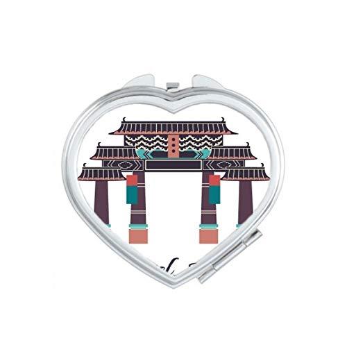 DIYthinker Visiter Le Parc à thème en Corée du Sud Coeur Maquillage Compact Miroir de Poche Portable Mignon Petit Cadeau Miroirs Main Multicolor