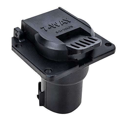 Impermeable Conector de cableado del adaptador del enchufe del zócalo de 7 vías oblato de 6-24V 7 con tapa de polvo redonda for autos domésticos A30 (Color : Black)