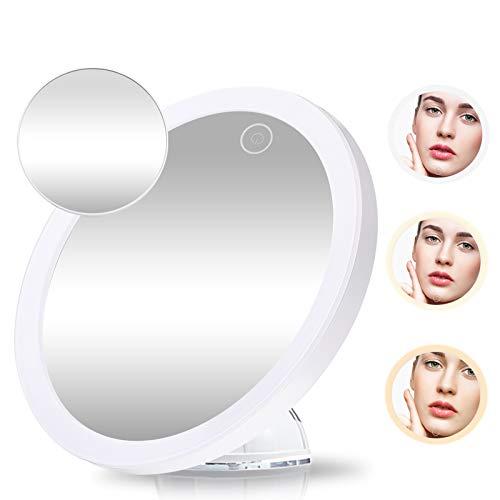 GEMITTO 10x + 5x Kosmetikspiegel LED Beleuchtung Schminkspiegel mit Saugnäpfen und 3 Farben Dimmbar, Montiert 360° Schwenkringlicht für Zuhause und Unterwegs Weiß