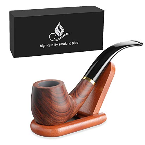 Joyoldelf Tobacco Pipe, Rosewood Smoking Pipe with High Standard Polish, Classical Bent Design, Hand Made + Stand