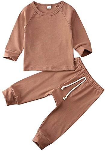 Ropa de bebé recién Nacido, niña, Camiseta sólida de Manga Larga, Pantalones Largos elásticos, Conjunto de Trajes de Otoño Invierno para bebés (marrón Claro,18-24 Meses)