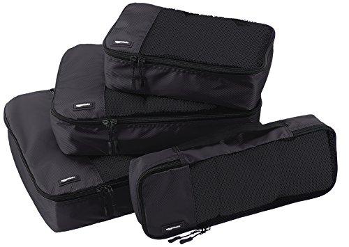 Amazonベーシック トラベル ポーチ 旅行用 収納 ケース 4点セット Lサイズ&Mサイズ&Sサイズ&スリム 各1点 ブラック
