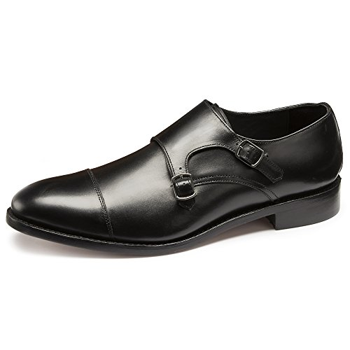 Samuel Windsor Men's Handmade Italian Leather Twin Monk Shoe from England in Black