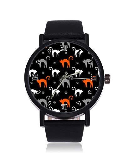 Reloj de Pulsera para Mujer con diseño de Gatos Blancos y Patas Grises de Color Naranja con Correa...