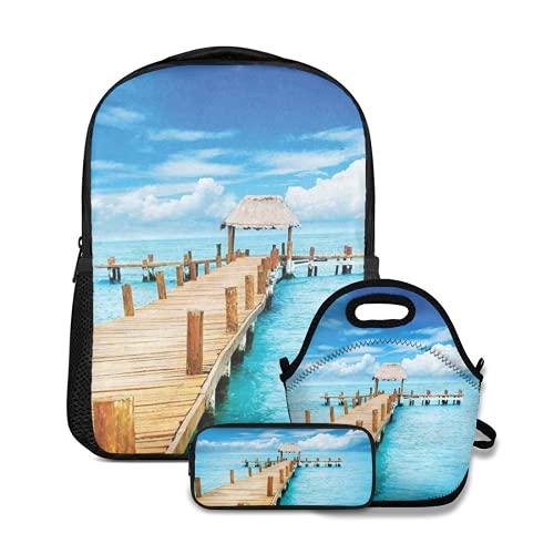 Conjunto de mochila escolar,Bungalow en Clear Sea Destino de viaje Playa Vista exótica del paisaje marino,con bolsa de almuerzo y estuche para lápices para mochila para adolescentes