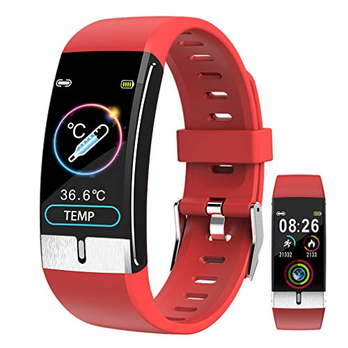 Fitness Armband Uhr Aktivitäts Tracker mit Körper Temperatur Messung丨 EKG丨 Herzfrequenzmesser丨 Blutdruckmessgerät丨Wetteranzeige丨 Schrittzähler丨 Kalorienzähle丨 Schrittzähler für Männer Frauen
