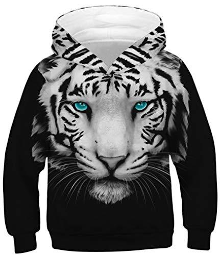 Ocean Plus Jungen Kapuzenpullover Bunt Teens Hoodie Kinder Langarm Pulli mit Kapuzen Sweatshirt Pullover (L (Körpergröße: 145-150cm), Grünäugiger weißer Tiger)