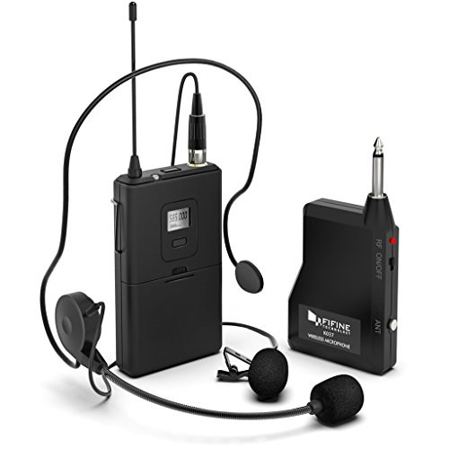 Wireless Microphone System,FIFINE Wireless Microphone Set with Headset and...