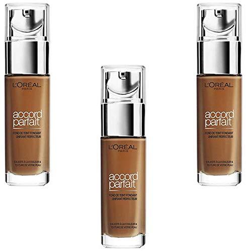 L'Oréal Paris Make Up Designer Accord Parfait Fond de Teint Fluide Unifiant Dore Foncé 10.D 30 ml - Lot de 3