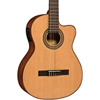 Deals on Lucero Spruce/Sapele Cutaway Acoustic Electric Classical Guitar