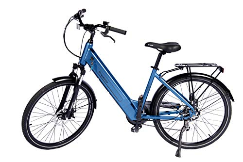 Aurotek Lisbon Bicicleta Eléctrica 26', Adultos Unisex, Azul, Grande
