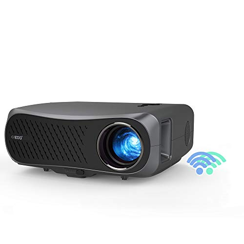 EUG Wireless 1080P Full HD Projector with Bluetooth 2020 New Support 4K 5G WiFi LCD Video Projector for Business Presentation Home Theater Movies Games 4D Zoom HiFi Speaker