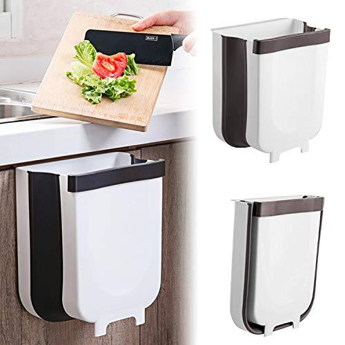 Arvioo Cubos de Basura Contenedor Colgante para Cocina Plegable 9L Bote de Basura Basurero Extraible para la Cocina, Dormitorio y CocheBlanco