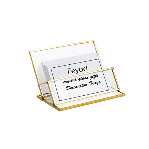 Feyarl Glass Business Card Holder Stand Vintage Clear Gold Office Name Card Display Business Card Organizer Storage for Office Desktop Countertop